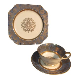 Staffordshire Johnson Bros. Scrolled Floral Filigree Pattern Plate Cup & Saucer Set of 3 For Sale