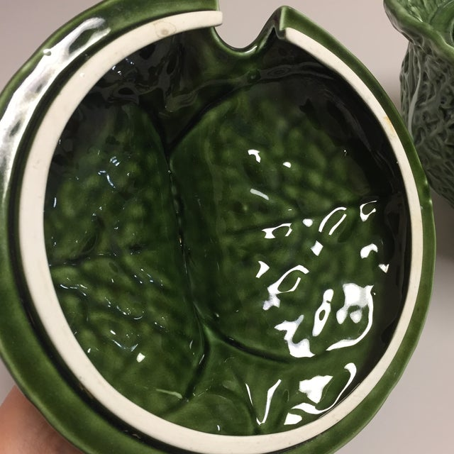 Green Cabbage Leaf Figural Tureen and Ladle For Sale - Image 11 of 13