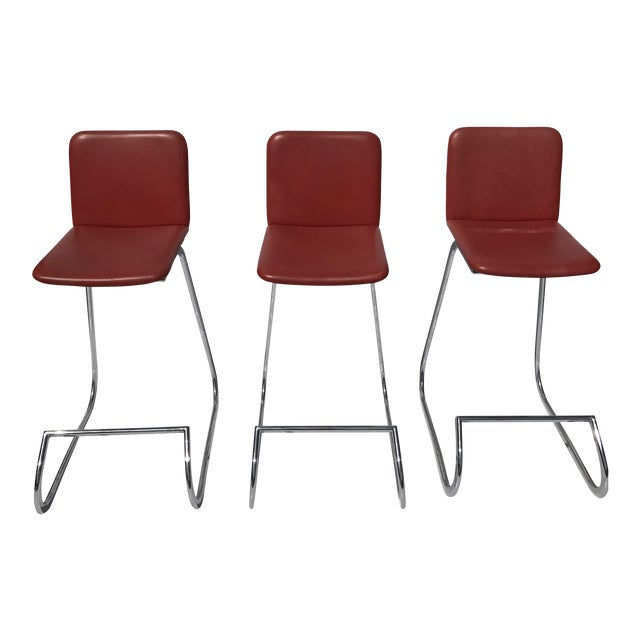Stendig Metal & Faux Leather Bar Stools- Set of 3 - Image 1 of 7