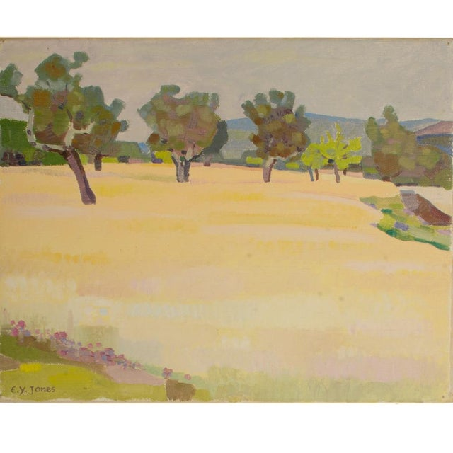 Spring Trees, light field with trees lined up in background - Oil on Canvas , signed lower left - Unframed