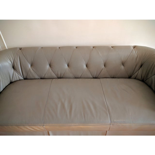 West Elm Chester Tufted Leather Sofa For Sale - Image 7 of 10
