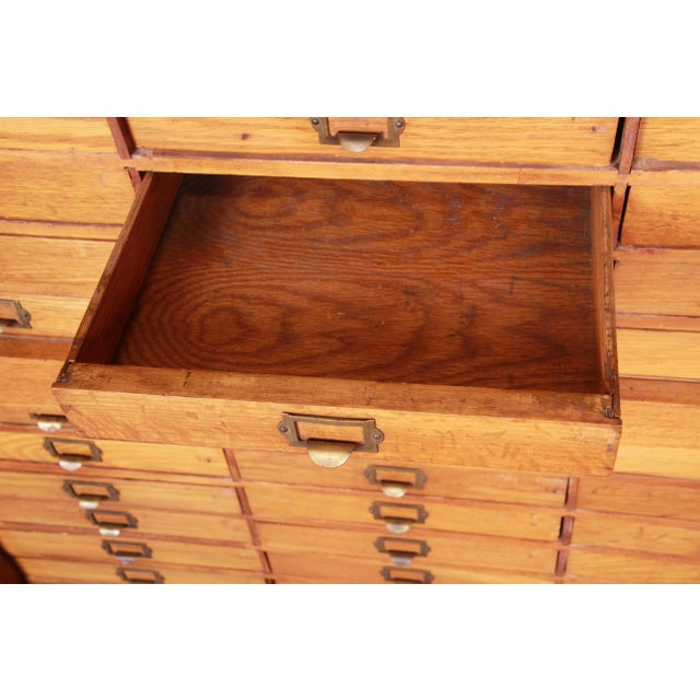 Antique Oak 57-Drawer Cabinet, Circa 1920s For Sale - Image 10 of 13