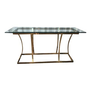 1980s Mid-Century Modern Design Institute America Brass & Glass Modern Console Table For Sale