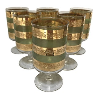 "1960s Mid-Century Modern Stemmed 22k Gold & Green Culver ""Starlyte"" Glasses - Set of 6 For Sale"