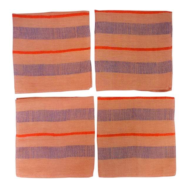 Indu Handwoven & Block-Printed Terracotta Table Napkins - Set of 4 For Sale