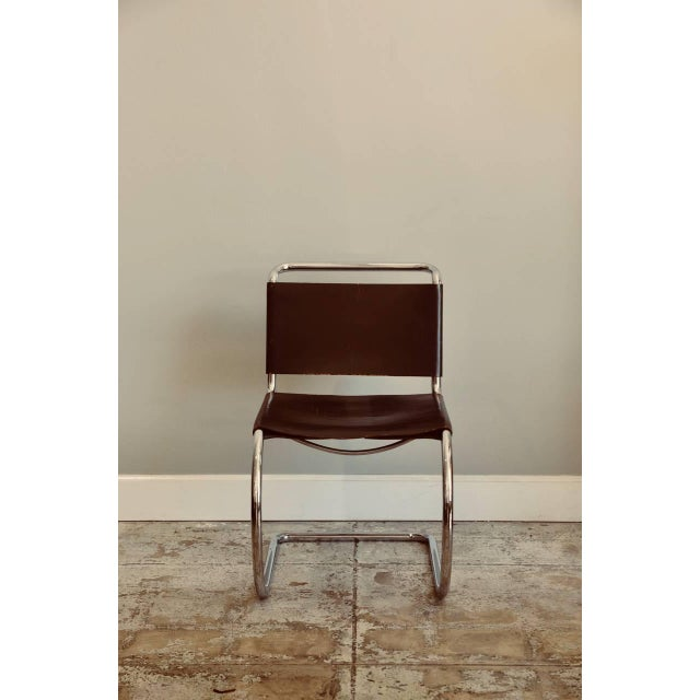 Set of Four Classic Thick Leather and Chrome Mr Chairs by Mies Van Der Rohe For Sale - Image 9 of 10