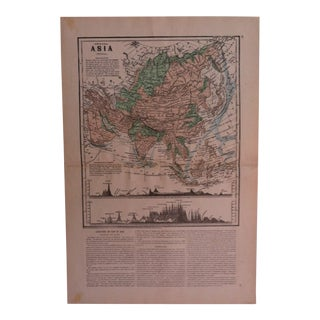 "Antique Geography Map ""Asia"" Sheldon & Company 1867 For Sale"