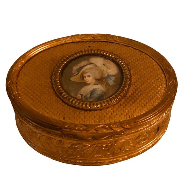 Late 19th Century Antique French Bronze Dore Portrait Box For Sale - Image 5 of 7