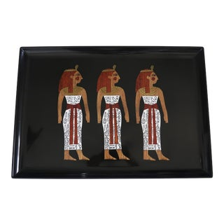 Vintage Couroc Tray With Inlaid Egyptian Motif For Sale