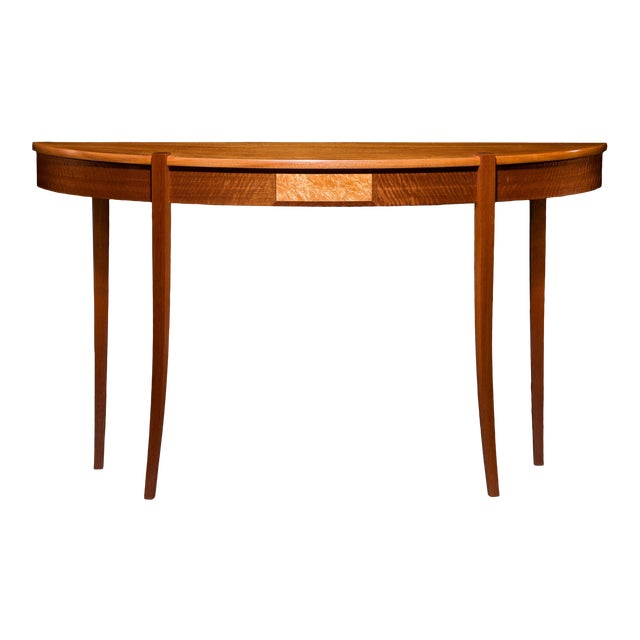 Lakewood Mahogany Top Demi Lune Console For Sale