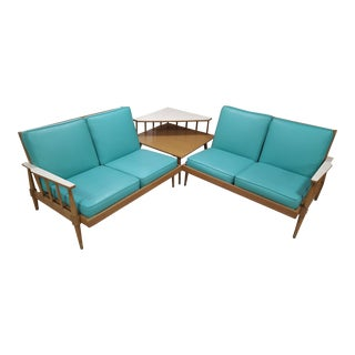 1950s Turquoise Naugahyde Sectional Sofa & Step Corner Table Set