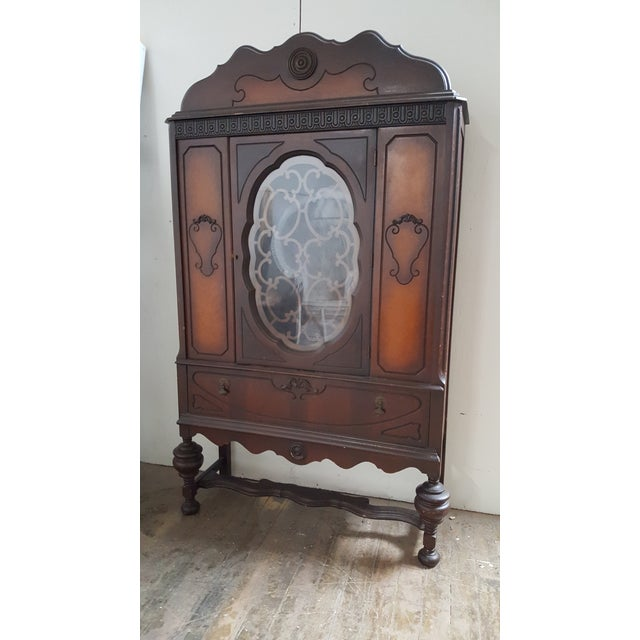 Antique Art Deco Waterfall Armoire - Vintage Waterfall Hutch China Cabinet For Sale - Image 7 of 7