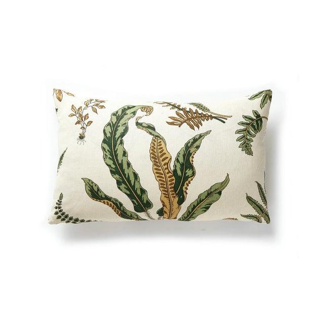 Elsie de Wolfe lumbar pillow in printed linen. Feather down insert included, hidden zipper closure.