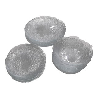 1950s Clear Glass Holly Etched Dinnerware - Set of 30 For Sale