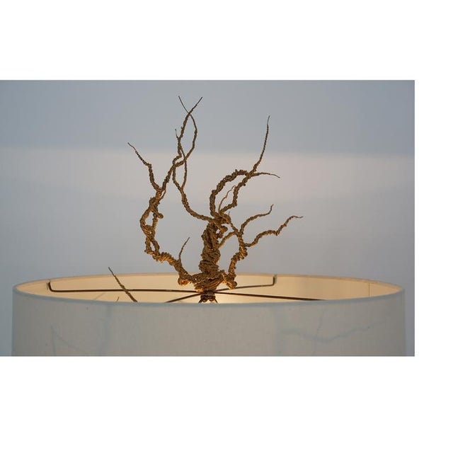 Twisted Brass Wire / Tripod Floor Lamp For Sale In Los Angeles - Image 6 of 6