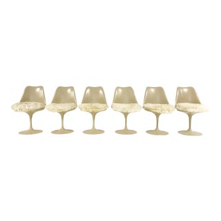 Eero Saarinen Tulip Chairs with Custom Brazilian Sheepskin Cushions - Set of 6
