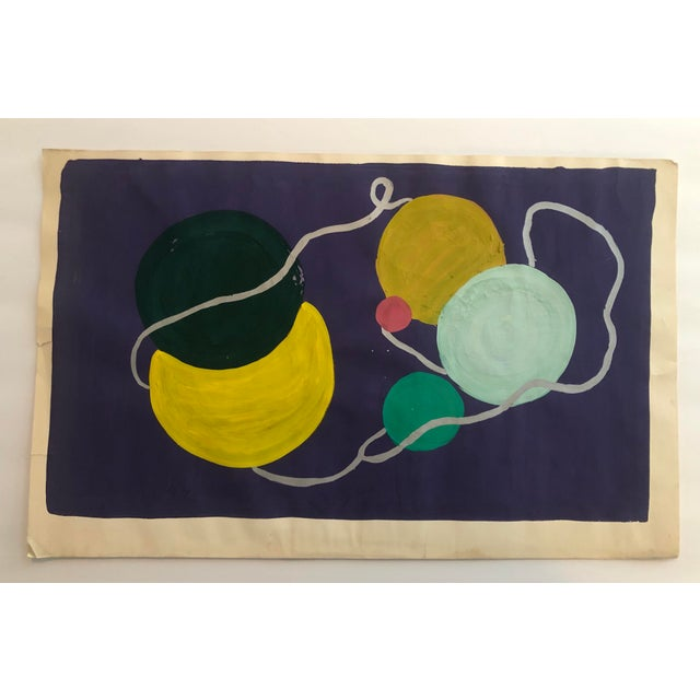 1950s Vintage Mid-Century Modern Yarn Still Life Painting For Sale - Image 4 of 4