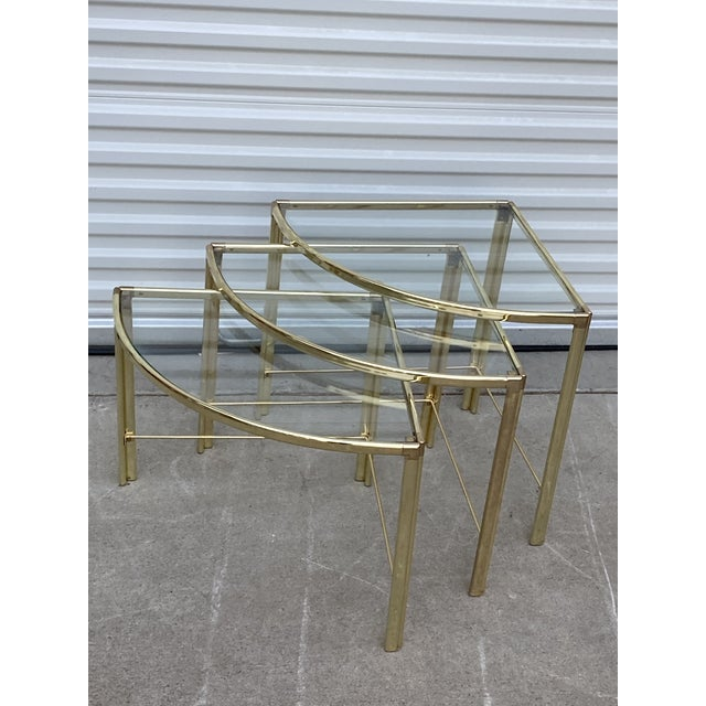 Mid Century Modern Milo Baughman Glass Top Corner Nesting Tables. Set of 3. Glass included.