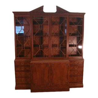 Solid Mahogany Large Breakfront China Cabinet For Sale