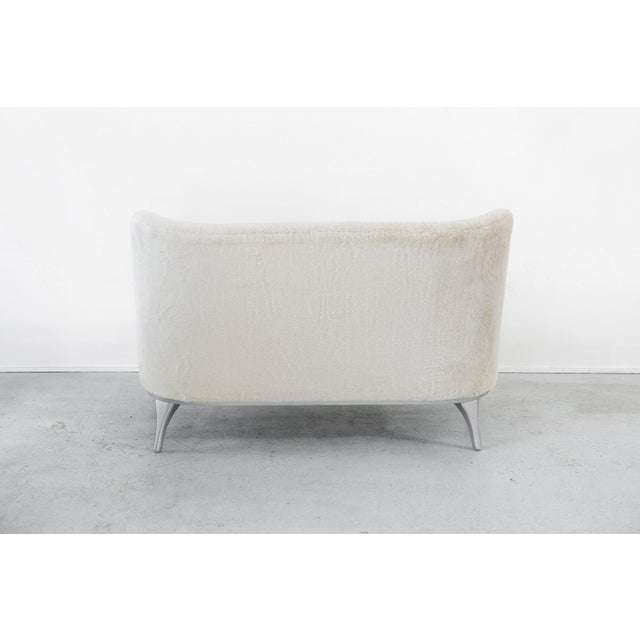 Mid-Century Modern Lawrence Peabody Settee Reupholstered in Faux Fur For Sale - Image 3 of 10