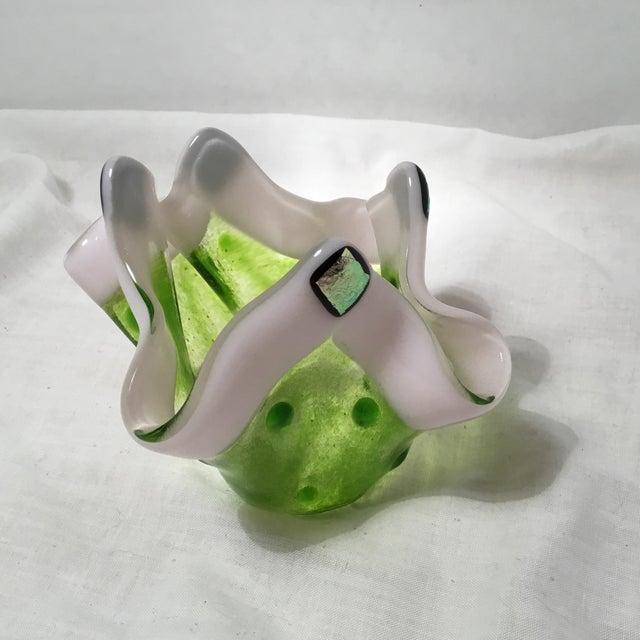 Handmade Clover Green Glass Vase For Sale - Image 9 of 11