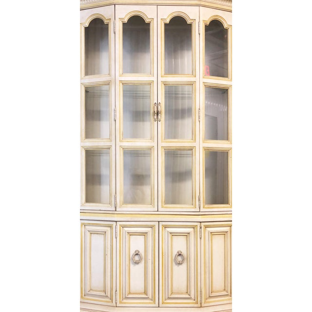 1980s Baker Breakfront French Country Glass Shelves, Lighting and Two Storage Cabinet - 2 Pc. For Sale - Image 5 of 12