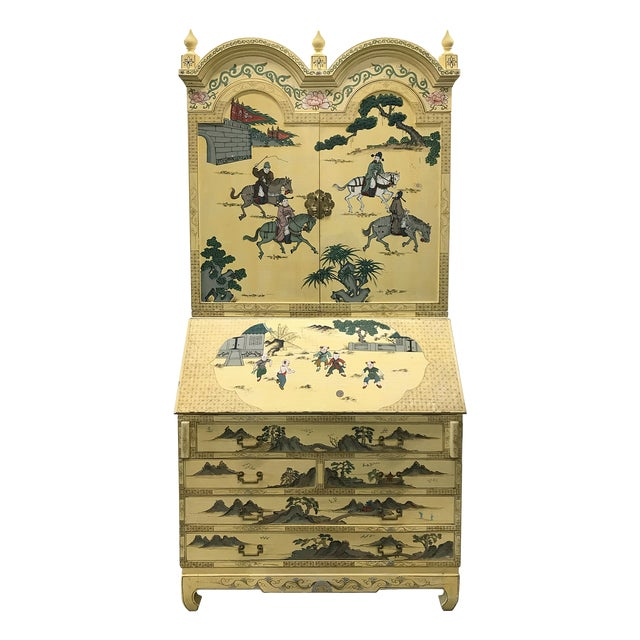 Vintage Chinoiserie Hand-Painted Secretary For Sale