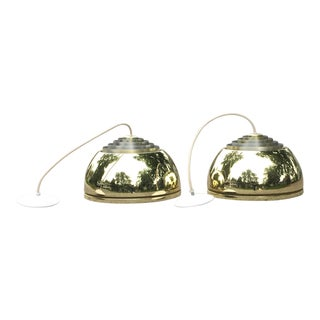 Lightolier Gold Pendant Lamps - A Pair For Sale