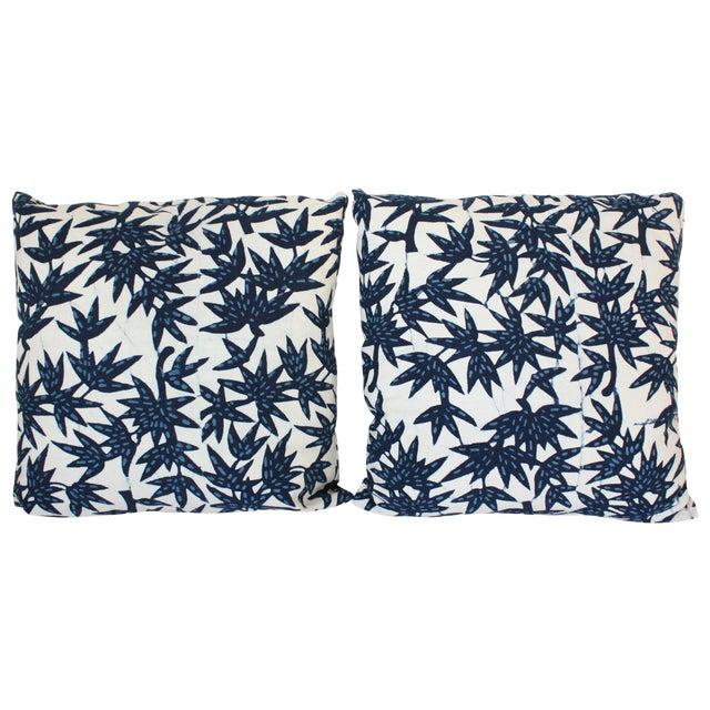 Indigo Nankeen Batik Pillows - Pair - Image 1 of 3