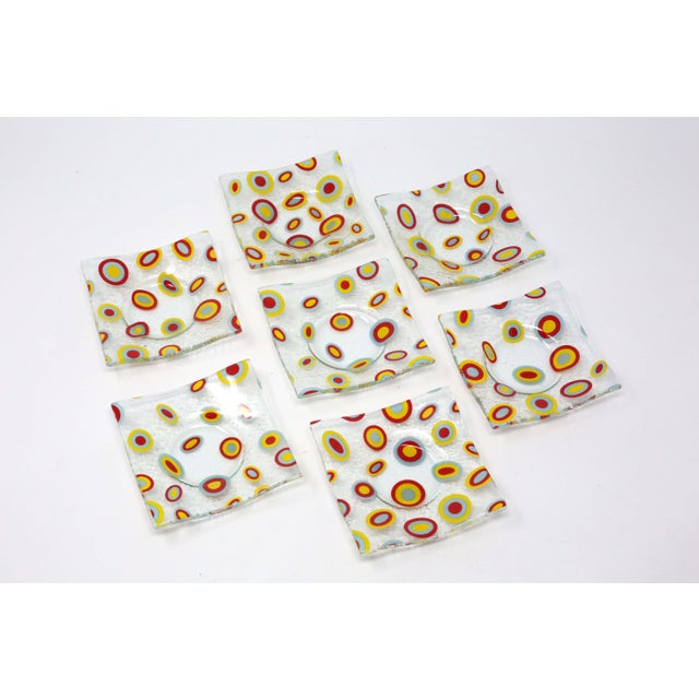 Square Glass Abstract Pattern Dishes - Set of 7 For Sale - Image 4 of 9