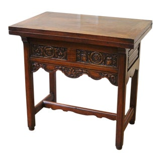 1900s Gothic Revival Flemish Carved Walnut Flip Top Game Table For Sale