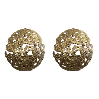 "Pair Of Cast Bronze ""Meteorite"" Wall Lights by Esperia For Sale"