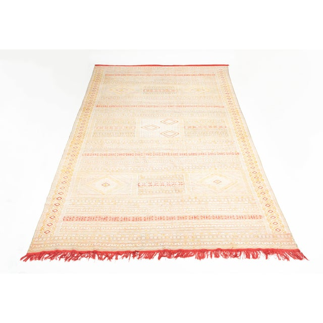Intricate Soumak Area Rug in Soft Neutral Tones; Beige, Green and Red For Sale - Image 9 of 9
