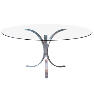 Chrome 1970's Mid-Century Modern Pedestal Table For Sale