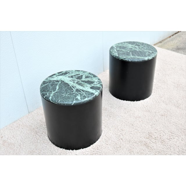 1970s Mid Century Modern Paul Mayen Style Green Marble Top Drum Side Tables - a Pair For Sale - Image 5 of 13