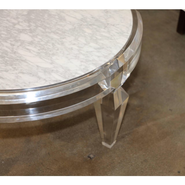 Lucite Lucite and Marble-Top Coffee Table For Sale - Image 7 of 8