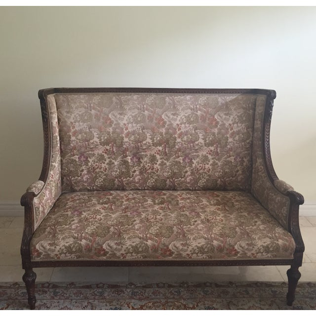 Antique Garden Settee in Olive - Image 2 of 6