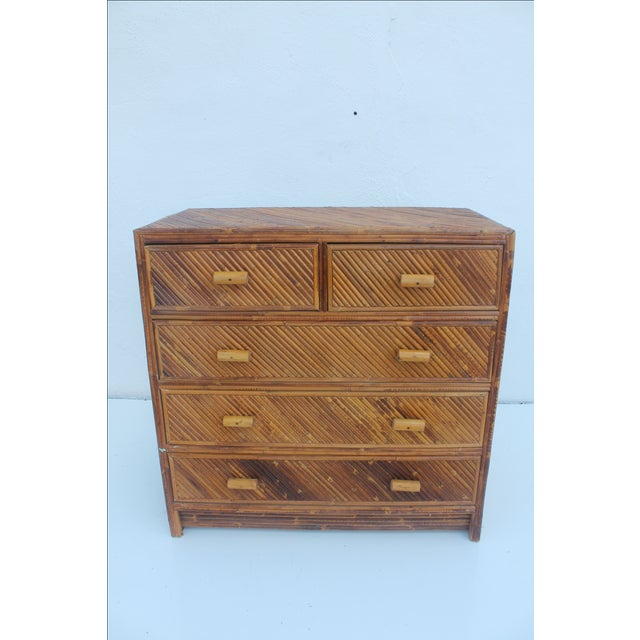 Vintage Pencil Reed & Rattan 5 Drawer Chest - Image 2 of 11