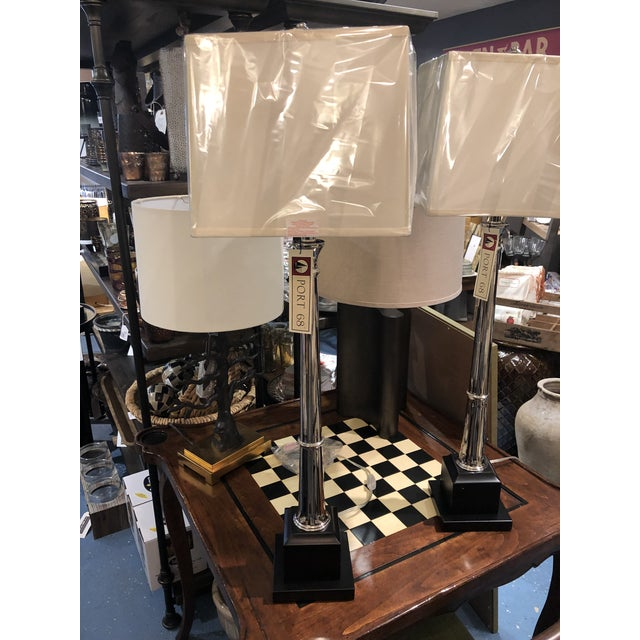 Port 68 Kensington Nickel Buffet Lamp - a Pair For Sale In Chicago - Image 6 of 8