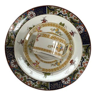 Imari Style Mixed Porcelain & Gold Place Setting - Set of 4