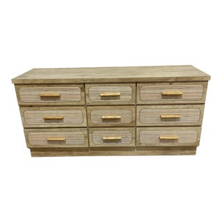Vintage Boho 9 Drawer Dresser With Bamboo For Sale