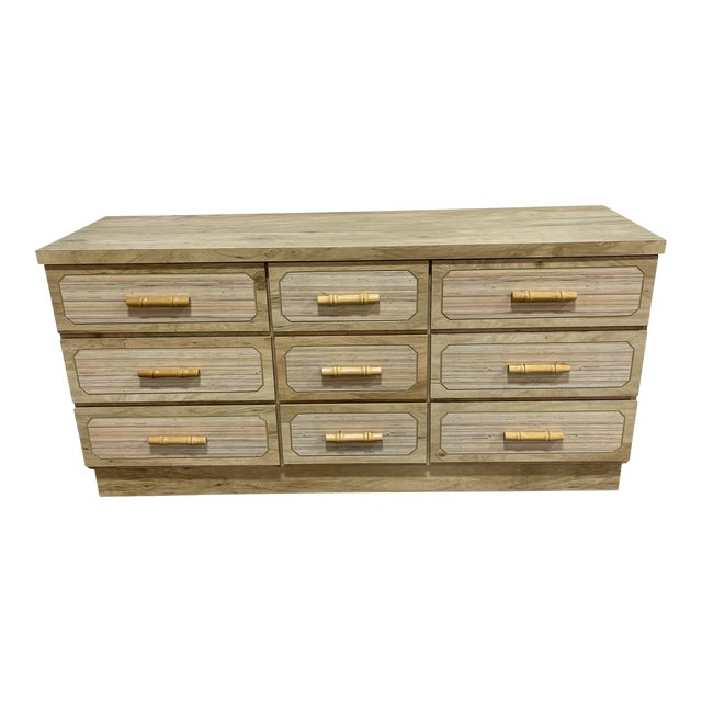Vintage Boho 9 Drawer Dresser With Bamboo For Sale