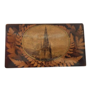 Antique English Fernware Box of Sycamore Wood With Picture of Scott's Monument in Edinburgh
