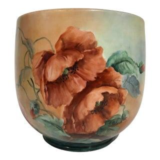 Antique Limoges France Porcelain Painted Cache Pot Planter For Sale