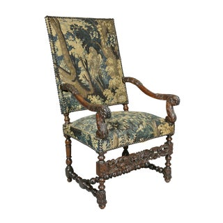 Flemish Baroque Walnut and Tapestry Upholstered Armchair For Sale