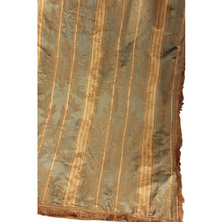 19th Century Silk Brocade Striped Curtain Drape With Trim and Curtain Rings For Sale