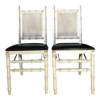 Vintage Mid Century Stakmore Foldable Faux Bamboo Chairs - a Pair For Sale