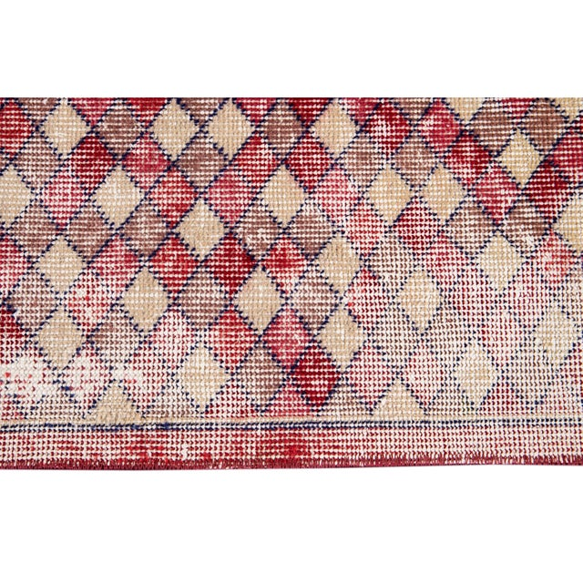 Red Mid 20th Century Vintage Art Deco Wool Runner Rug For Sale - Image 8 of 13