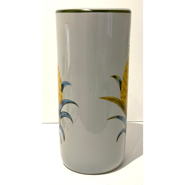 Italian Vintage Fornasetti Style Umbrella Stand With Double Pineapple Motif For Sale - Image 3 of 12