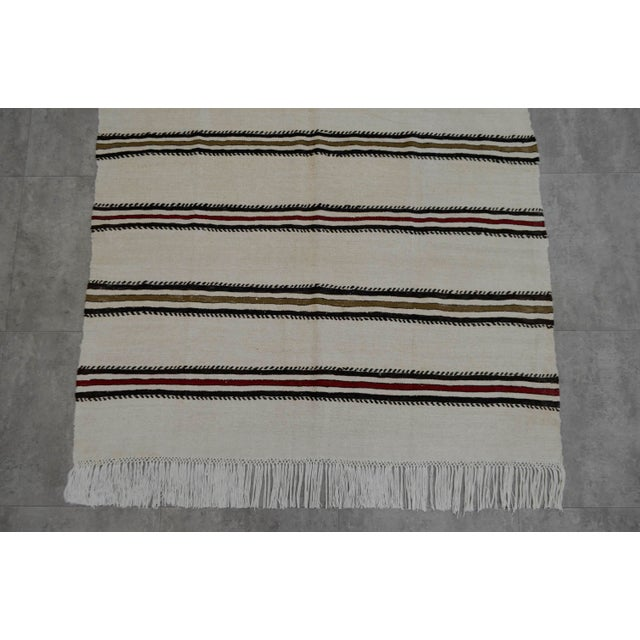Cotton Vintage Natural Turkish Cotton Stripe Kilim Rug - 4′7″ × 7′9″ For Sale - Image 7 of 9